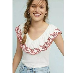 Anthropologie Moulinette Soeurs Embroidered Top